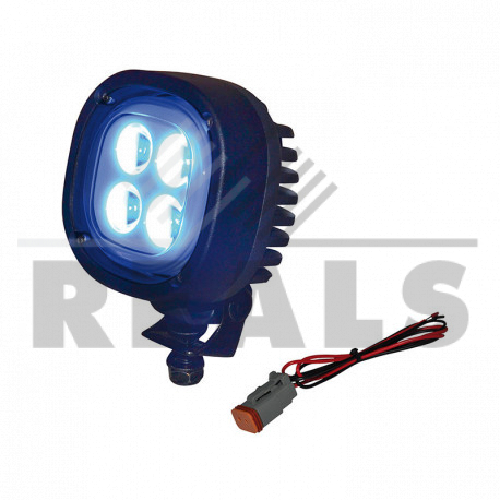 Phare 4 leds 12w bleu 12-80 volts 107 x 107 x 82,6 mm